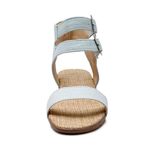TAOFFEN Mujer Moda Punta Abierta Sandalias Plano Al Tobillo Verano Zapatos Azul Claro
