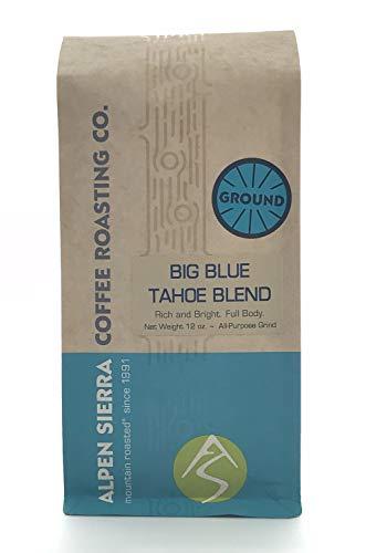 Big Blue Tahoe Ground Coffee, 16 ounces, Multi-Roast Blend, Dark Roast and Medium Roast, Dark Finish from Costa Rica, Sumatra, Colombian and Guatemala Coffees from Alpen Sierra Coffee