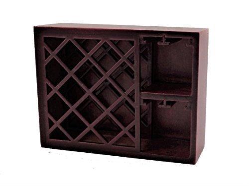 Melody Jane Dollhouse Mahogany Wine Rack & Glass Holder Bar Pub Furniture 1:12