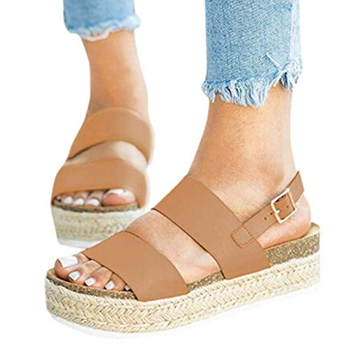 Clearance! Swiusd Womens Girls Comfy Flat Roman Sandals Retro Open Toe Slingback Sandals Weaved Thick Bottom Beach Shoes (Khaki, 7 .5 M US)