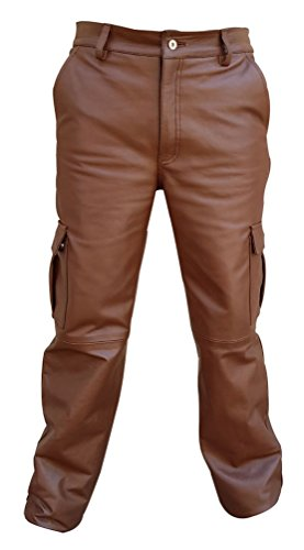 Pants Fully Lined (Olly And Ally Mens Real Brown Leather 6 Pockets Cargo Pants Jeans Fully Lined - (CARGO2 Brown) W34 X L30)
