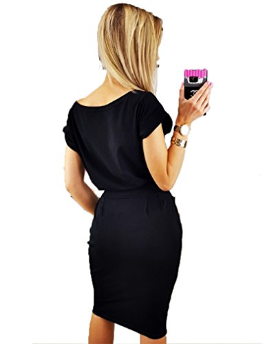 Dress Pencil with Sleeve Belt Women's Causal Button Kancystore Midi Black Long fTU0wxCq