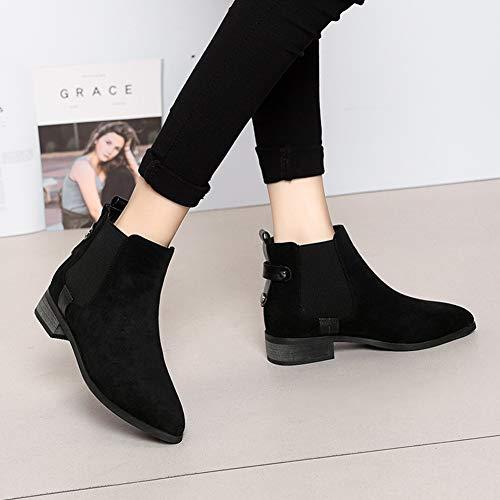 Élastique Femmes Pointu Étudiant Britannique Hwf Automne Style Abricot Bottes Taille Chaussures Bande Femme Martin Pour Couleur couleur Noir 40 Loisirs O7qBwWYtx