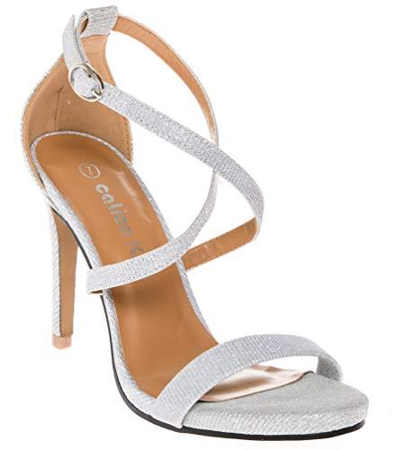 calico KiKi DEVYN-CK02 Women's Open Toe Cross Strap Platform Evening Dress High Heel Pumps (6.5 US, Silver -
