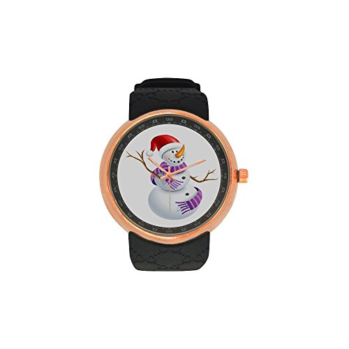 Novelty Gift Merry Christmas Snowman Men's Rose Gold Plated Resin Strap Watch by Snowman Watch (Image #4)