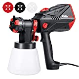 AREWTEC Paint Sprayer, 600W High Power with 1200ml/min Maximum Flow, HVLP Electric Paint Spray Gun 1000ml Container with 4 Nozzles for Easier DIY Spraying and Cleaning, SGT10A, Red