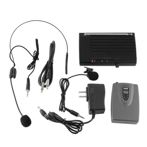 MVPower Wireless Lapel Headset Microphone MIC System for Public Speaking Singing Music Stage Dance Hall Meeting Room Classroom Long-distance Low Distortion 220-270MHz AC110-240V