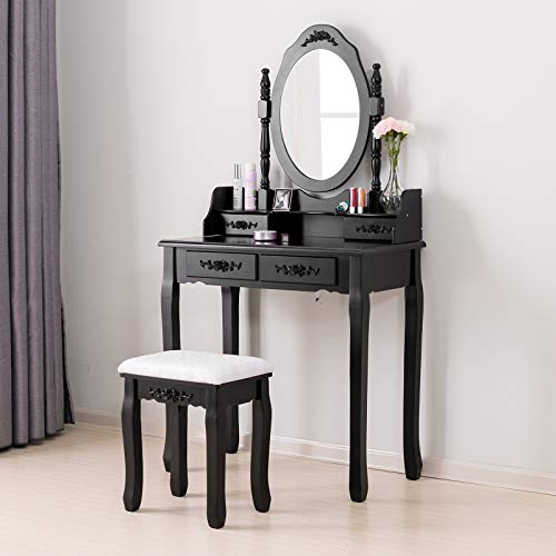 Mecor Vanity Table,Makeup Dressing Table with Oval Mirror,Bedroom Vanity Set w/Cushioned Stool 4 Drawers Women Girls Kids Black