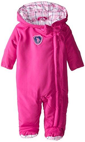 U.S. Polo Assn. Baby-Girls Plaid Lined Polyfill Puffer Pram, Pink Rose, 6-9 Months