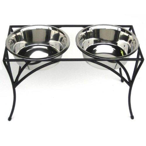Arbor Double Bowl Elevated Diner 12  Tall Raised Dog Feeder Black