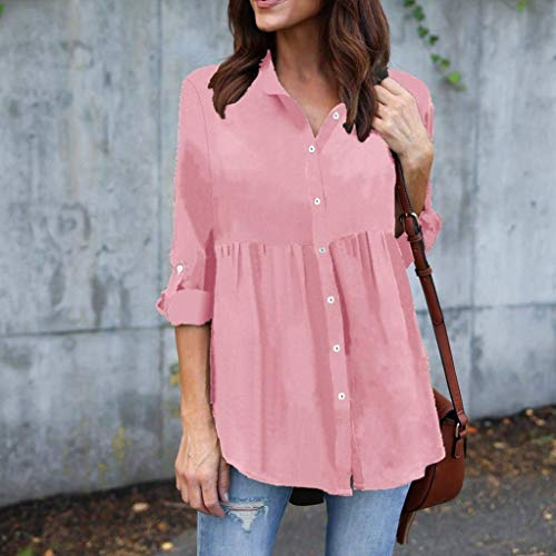 shirt OL size work lunga Womens sciolto rosa solido top XL camicia AiBarle manica T chiffon Plus blu fCpxwOOqS