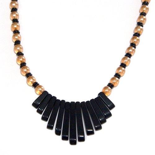 Black Onyx Gemstone Stick Bib Pendant Necklace - Crystal Peach Glass Beads, Sterling Silver, 1 & (Rectangular Spacer Beads)