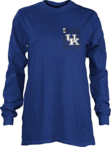 (NCAA Kentucky Wildcats Junior's State Slogan Comfort Colors Long Sleeve T-Shirt, Royal, Small)
