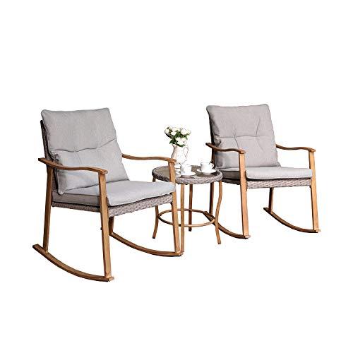COSIEST 3-Piece Outdoor Patio Furniture Faux Woodgrain Rocking Chairs Seat 18″ H w Warm Gr ...