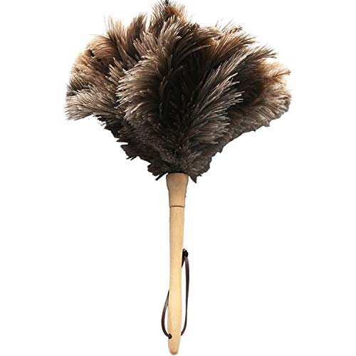 Ostrich Feather Duster,Feather Duster Fluffy Natural Genuine Ostrich Feathers with Wooden Handle and Eco-Friendly Reusable Handheld Ostrich Feather Duster Cleaning Supplies, Gray and Brown(Length 16″)