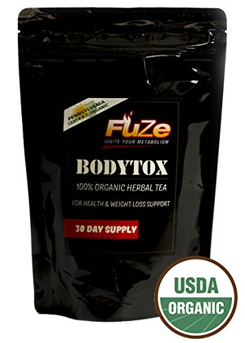 Organic Teatox Weight Loss Tea - Gentle Herbal Detox Cleansing, Toxin Cleanse, Appetite Suppressant, Reduce Bloating and Constipation - 30 bags - Made in USA - Fuze Nutritionals