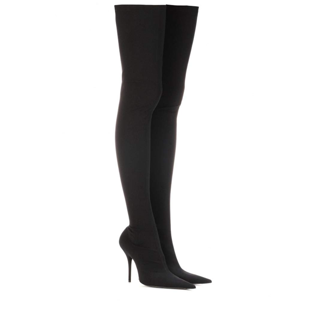Black Over The Knee Boots Thin High Heels Party shoes Women Pointed Toe Satin Boots