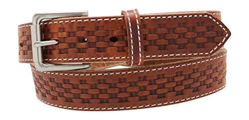 (Basket Stamped Leather Work Belt Oiled and Waxed 1.5 inch 30 to 60 inch Waist Brown, Size 50)