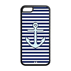 MMZ DIY PHONE CASETPU Case Cover for iphone 6 4.7 inch Strong Protect Case Cute Colorful Stripe-Anchor Navy Case Perfect as Christmas gift(4)