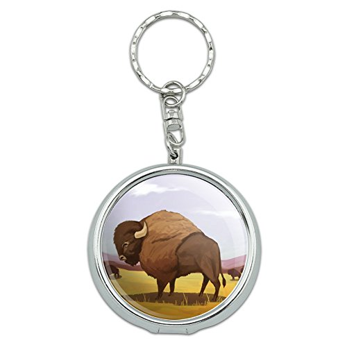 Montana Pot Holder (American Bison Buffalo Herd on the Plains Portable Travel Size Pocket Purse Ashtray Keychain with Cigarette Holder)