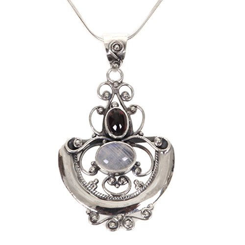 NOVICA .925 Sterling Silver Rainbow Moonstone and Garnet Pendant Necklace, 17