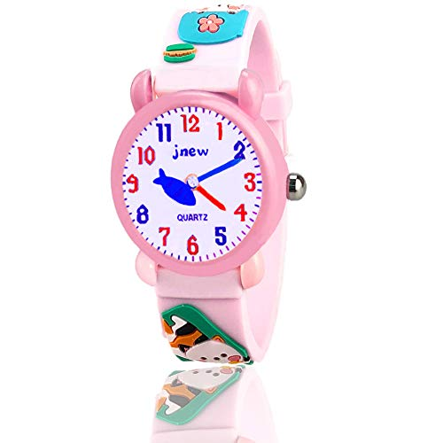 Best Gifts for Girls Age 2-10, 3D Cute Cartoon Kids Waterproof Watch Best Top Toys for Girls Age 3-12 Birthday for Girls Age 3-8 Kitten OWUSWC003 ()