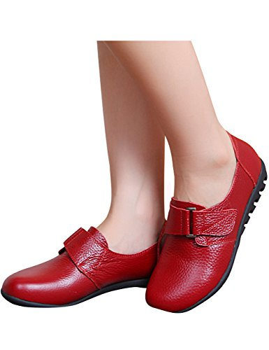 Winter Flache Leder Rot Schuhe Damen Herbst Youlee 74q51w7