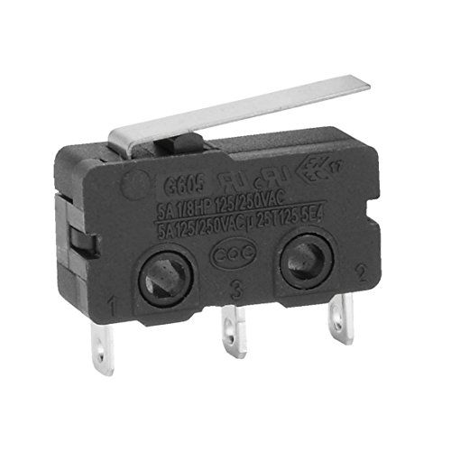 uxcell AC 250V 5 Amp SPDT 1NO 1NC Short Straight Hinge Lever Mini Micro Switch (10 Piece)