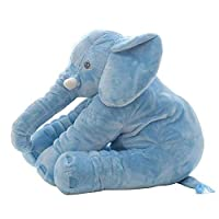 "Creative ingenuity Cute Elephant Stuffed Doll Plush Toy Adult Pillow Leisure Reading Companion-Vivid and Comfortable (16"", Blue)"