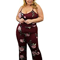 6c1d4252b84f Urban Rose Womens Plus-Size Jumpsuit – Bodycon With Floral Design   Flare  Pant