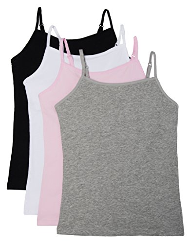 Caramel Cantina Girls 4 Pack Spaghetti Strap Cami Tanks with Shelf Bras (14, Black/White/Pk/Gry) (Girls Top)