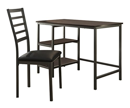 (Homelegance Madigan Metal Writing Desk with Slat Back Chair, Black)
