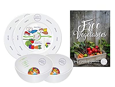"""Cookbook + 8"""" Plate + Bowl - Pre-Surgery Bariatric Diet Kit with VLCD Vegetable Guide, Melamine Bowls & Plates for Long-term WLS Eating. Perfect Portion Control Plate Sets for all stages of Gastric By"""