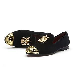 JITAI Men Genuine Leather Mens Metallic Textured Slip-on Glitter Loafers Shoes