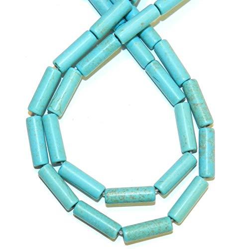 Tube Round 4x13mm Bead (Round Tube Magnesite Gemstone Beads 15