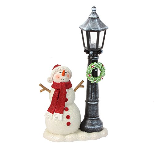 HAND PAINTED RESIN SNOWMAN WITH LIGHT UP LAMPOST