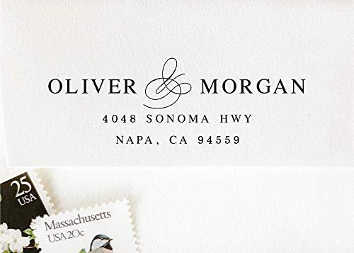 Self-Inking Return Address Stamp, Pre-Inked Custom Rubber Stamp, Wedding Invitation Stamp ()