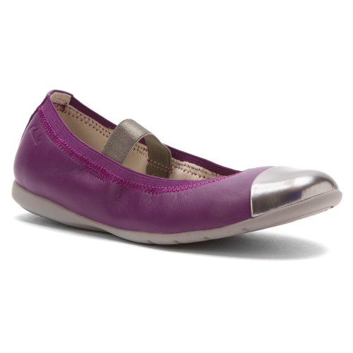 Clarks Girls' Dance Brite Purple Leather 11 Little Kid