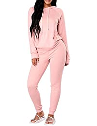 Women Casual Pullover Hoodie Sweatpants 2 Piece Sport Tracksuit Outfits Set S-XL