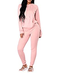 Fixmatti Women 2PC Hooded Front Pocket Sweater Sweatpants Sport Tracksuit