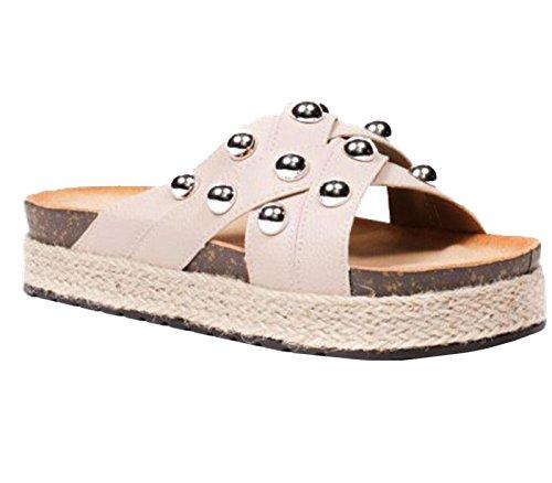 SHU CRAZY Womens Ladies Studded Platform Slip On Open Toe Beach Holiday Mules Espadrille Sliders Sandals Shoes - M61 Beige etE8h6B