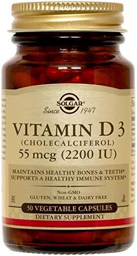 Solgar Vitamina D3 (Colecalciferol) 2200 UI (55 µg) Cápsulas vegetales - Envase de 50: Amazon.es: Salud y cuidado personal