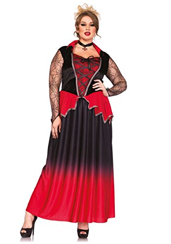 [Leg Avenue Women's Plus-Size 2 Piece Just Bitten Beauty Vampire Costume, Black/Red, 1X] (2 Person Halloween Costume)