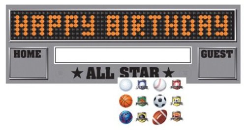 Giant Happy Birthday Party Banner with Stickers, Team Sports]()