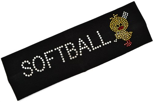 Funny Girl Designs SOFTBALL CHICK Rhinestone Stretch Headband