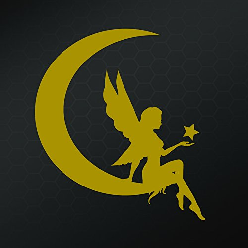 [Fairy Moon Silhouette Vinyl Decal Sticker | Car Truck Wall Computer Laptop Phone | Gold | 5 X 5.5 in | KCD272G] (Comanche Costumes)