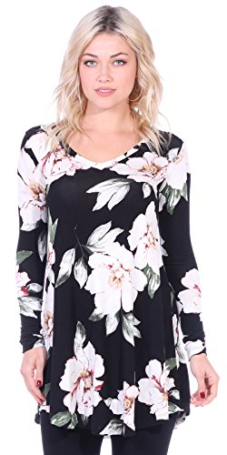 5cf028c3848 Popana Women s Tunic Tops for Leggings Long Sleeve Shirt Plus Size Made in  USA Small ST85