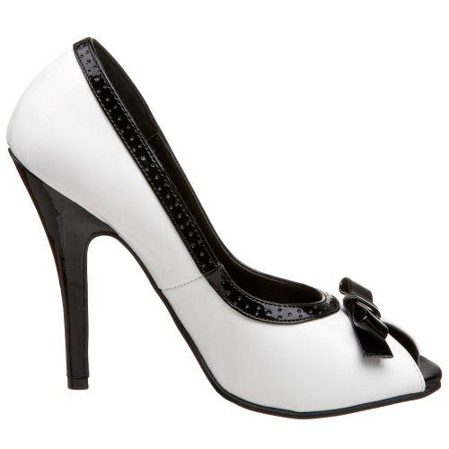 Pleaser SEDUCE-218 - Peep Toes para mujer Blanc/Noir