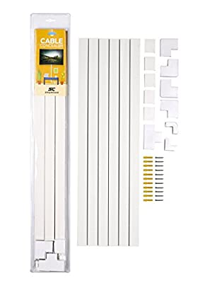 Cable Concealer On-Wall Cord Cover Raceway Kit - Cable Management System to Hide Cables, Cords, or Wires - Organize Cables to TVs and Computers at Home or in The Office from SimpleCord