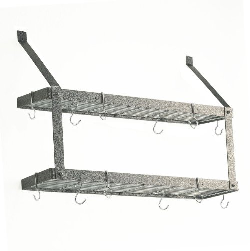 Double Bookshelf Pot Rack - Hammered Steel and Chrome
